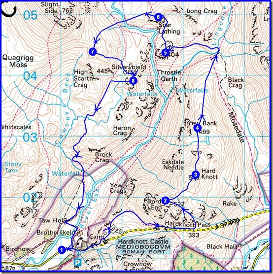 Saturday's route - 15km, 850 metres ascent, 6.25 hours, 7 Birketts (marked 2-8)
