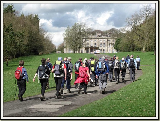 Walkers purposefully march towards The Siege of Haigh Hall