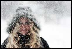Girl in blizzard