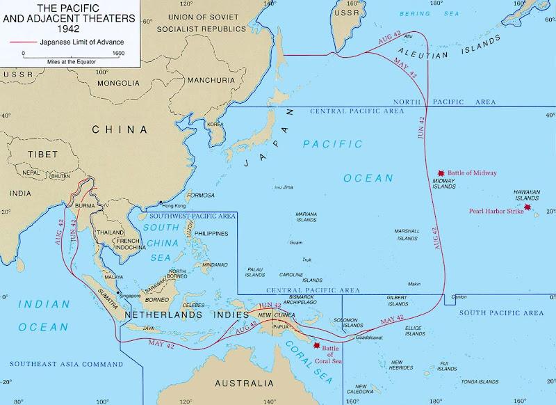 Mapa  La Segunda Guerra Mundial Post 71  Guadalcanal Situacin