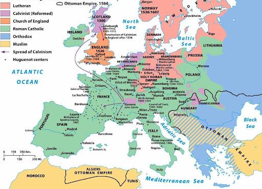 Mapa   El Mapa Religioso de Europa a mitad del Siglo XVI