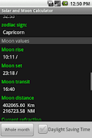Screenshot of Solar and Moon Calculator