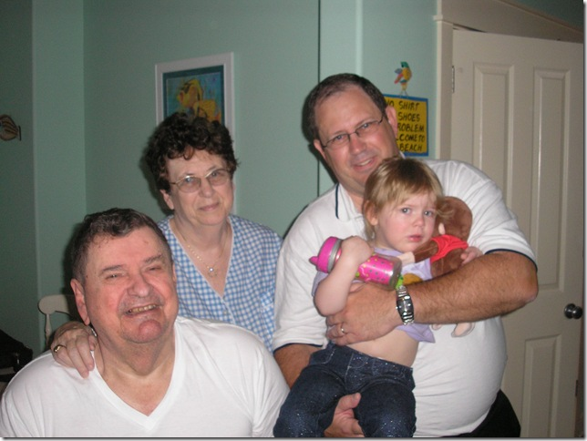 Great Grandpa, Great Grandma, Opa, and Kaitlyn (2 years old) in Destin, Florida