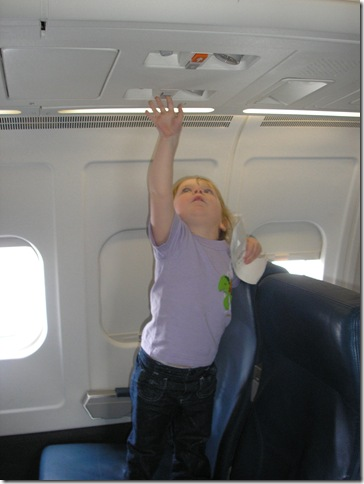 Kaitlyn (2 years old) on plane from Atlanta to Portland