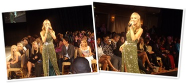 View Singer Lara Janine in a Zizi Cardow Gown