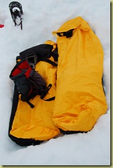 Bivvy bags in snow hole