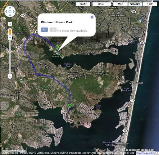 Map From 35 Perry Drive to Windward Beach Brick NJ