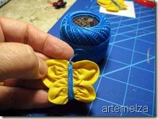 borboleta de fuxico quadrado - costurando