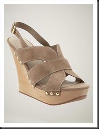 Gap Suede Wide-Strap Wedge in Taupe