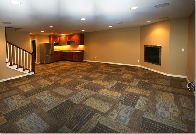 The l shaped house carpeting the basement family room for Best carpet for basement family room