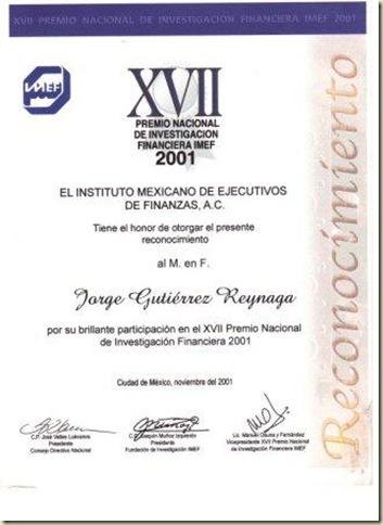 IMEF RECONOCIMIENTO 2001
