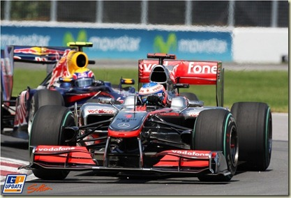 Jenson Button (GBR) McLaren MP4/25 leads Mark Webber (AUS) Red Bull Racing RB6. Formula One World Championship, Rd 8, Canadian Grand Prix, Race, Montreal, Canada, Sunday 13 June 2010.