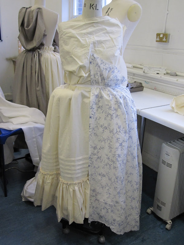 Draping overskirt fabric over petticoat to work out yardages