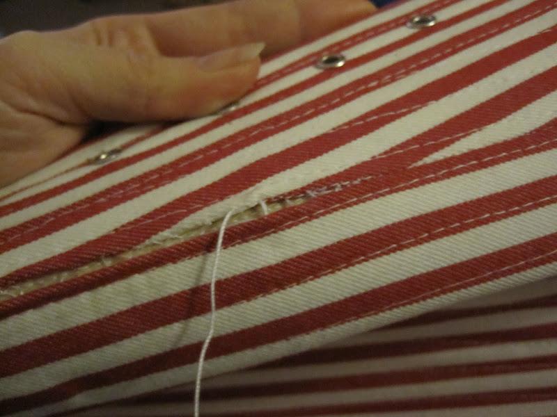Repairing the split: binding the seam of the top layers.