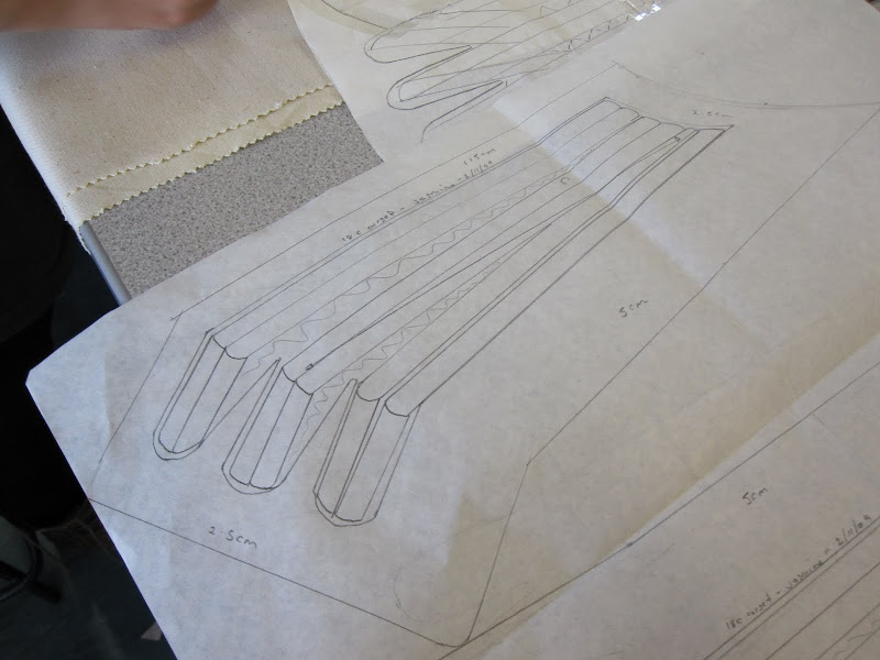 Panel C (front side panel) pattern peice showing seam allowance, boning and hatch stitching placement
