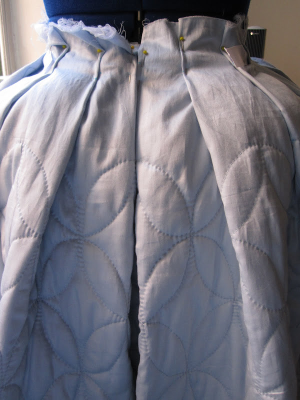 Back of the petticoat - showing the oval meeting up on the pleat folds