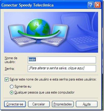 Tela de conexão de banda-larga no XP