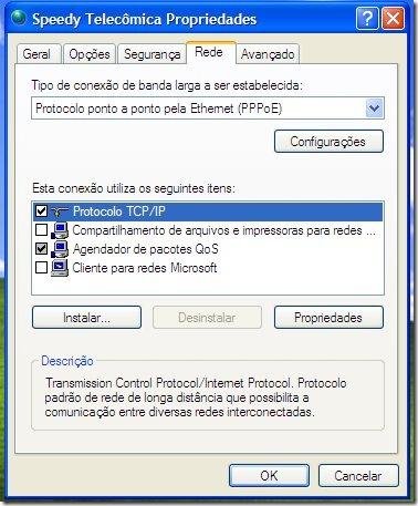 Propriedades da conexão de banda-larga no XP