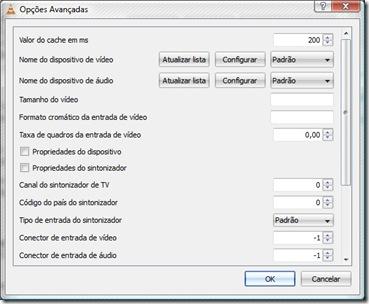 Opções avançadas do dispositivo de captura no VLC
