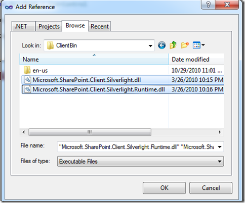 Adding reference to the Silverlight COM assemblies