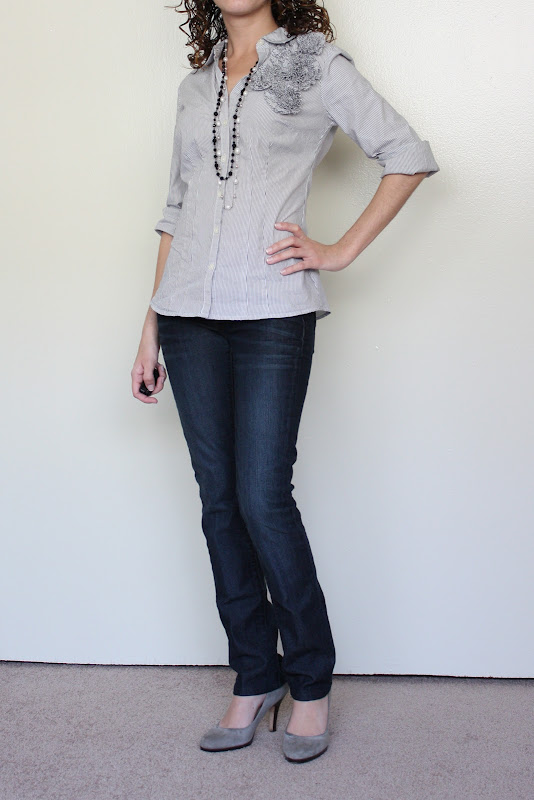 Petite Outfit: Fun With the LOFT Corsage Button Down