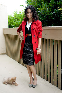 Petite H&M Lace Skirt and Burberry Trench