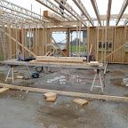 """Her et kig fra stuen ind mod """"hovedhuset"""". Der mangler væggen som deler køkkenalrummet med arbejdsværelset."""