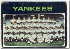 Topps 71 Yankees Team