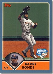 Topps 2003 Opening Day Barry Bonds