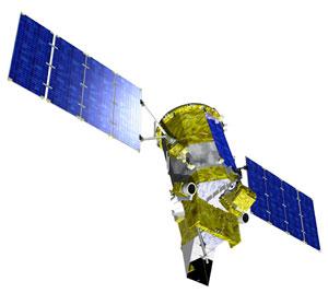 Taiteilijan näkemys Glory-satelliitista.