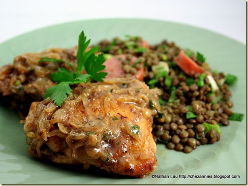 Chicken with Vinegar & Onions, Warm French Lentil Salad with Smoked Sausage