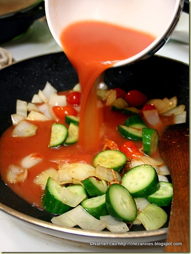 Pouring Sweet Sour Sauce on Vegetables