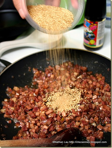 Adding Sesame Seeds to Char Siu Filling
