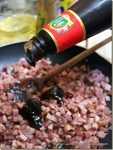 Adding Oyster Sauce to Char Siu Filling