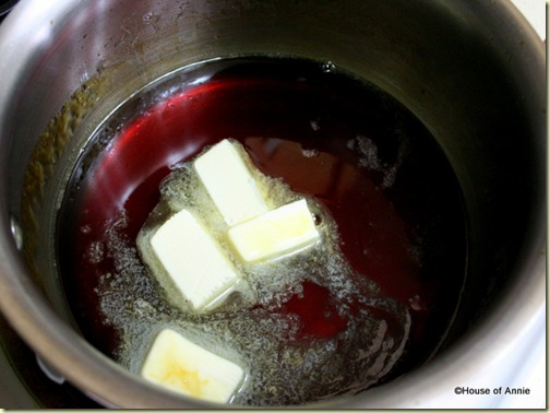 Melting Butter in Caramel Sauce for Malaysian Honeycomb Cake