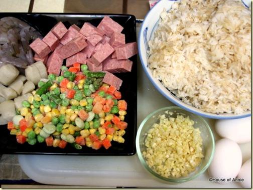 Shrimp, Fish Balls, Spam, Frozen Mixed Vegetables, Garlic, Eggs, Rice