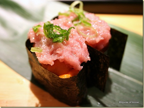 Minced Otoro and Uni Gunkan Maki at Sakae Sushi in Burlingame