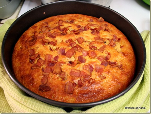 Cornbread with Bacon Coming Out of the Oven