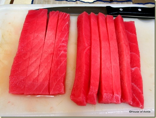 Cutting Ahi Into Strips for Poke
