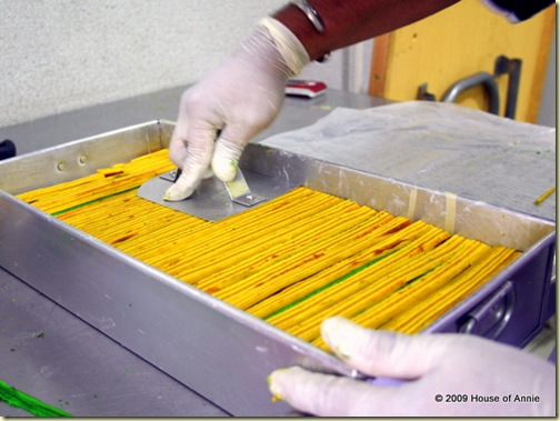 pressing down last layer of yellow strips to make the sarawak layer cake level - copyright house of annie