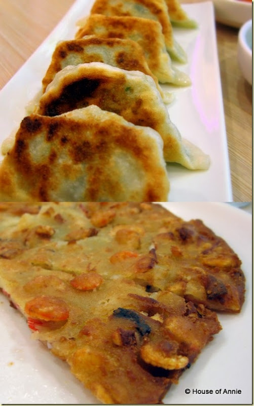 fried mandoo and crispy seafood pancake
