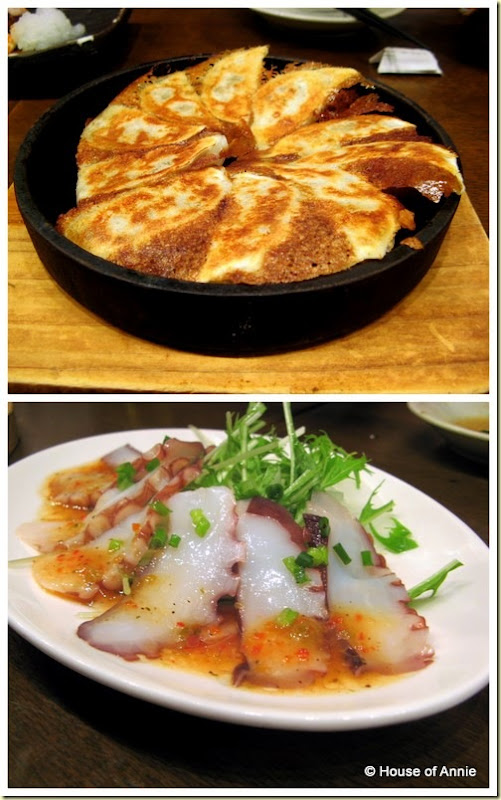 gyoza and octopus carpaccio