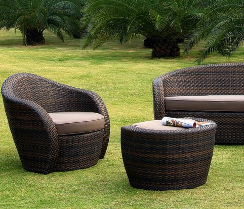 Salon r sine tress e mobilier canape deco for Salon de jardin tresse