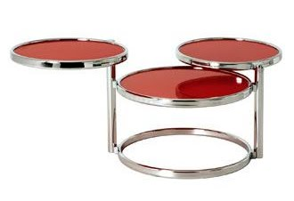table basse verre rouge