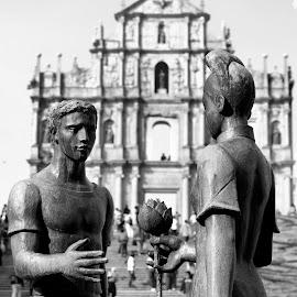 East meets West by Renato Marques - Buildings & Architecture Statues & Monuments ( landmark, monuments, ms. east, mr. west, macau, ruins, historical, st. paul's,  )