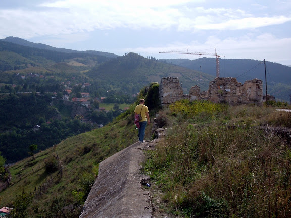 Walking along the citys edge at the site of an old fortress
