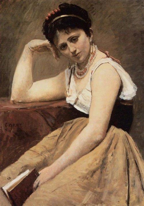 Jean-Baptiste-Camille Corot - La lecture interrompue, 1870
