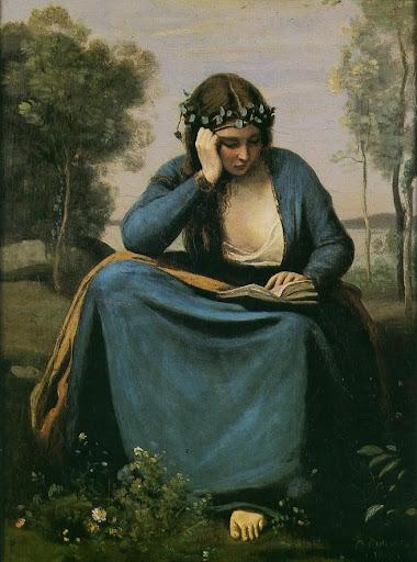 Jean Baptiste Camille Corot [ La Liseuse couronnée de fleurs ou La Muse de Virgile ] 1845