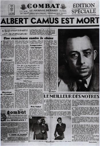 Edition spéciale de Combat - 5 janvier 1960 - Mort d'Albert Camus