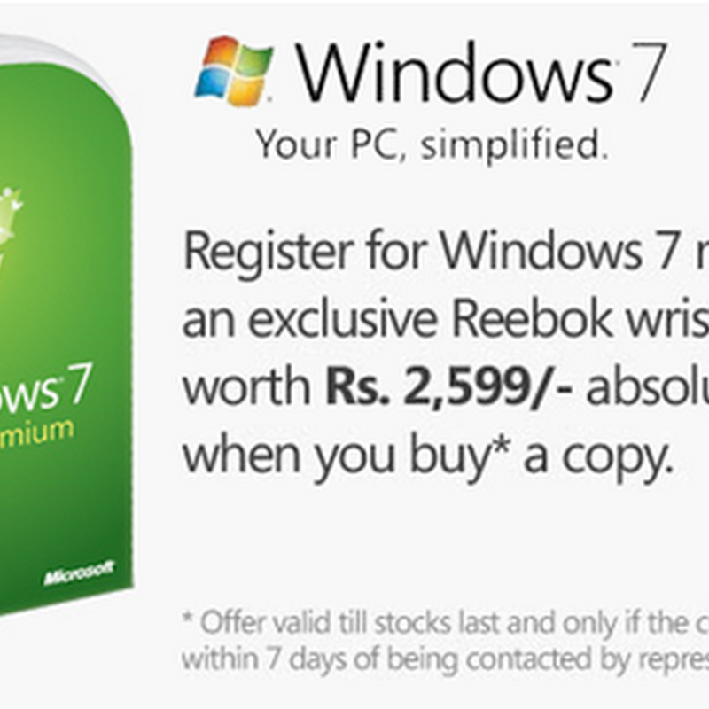 Buy Microsoft Windows 7 in cheapest price & get wrist watch free
